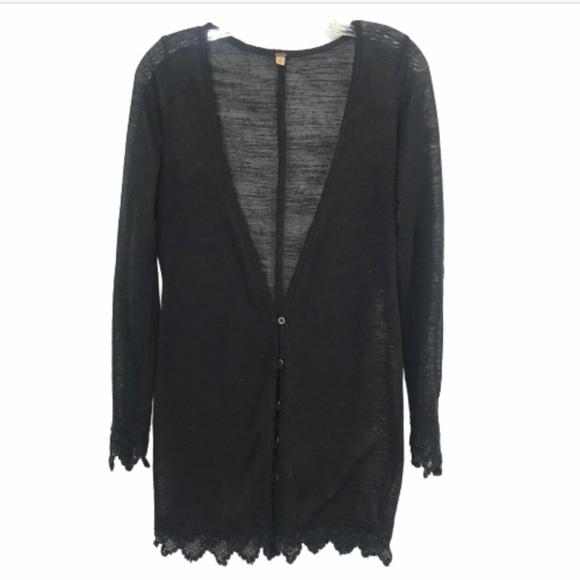 Free People Sweaters - FREE PEOPLE SM BLACK LONG CARDIGAN DUSTER